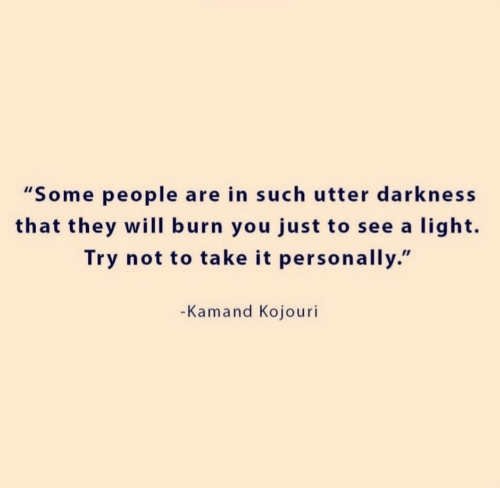 """Light, Darkness, and Will: """"Some people are in such utter darkness  that they will burn you just to see a light.  Try not to take it personally.""""  -Kamand Kojouri"""