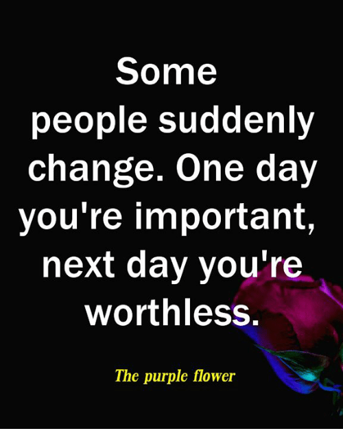 Memes, Flower, and Purple: Some  people suddenly  change. One day  you're important,  next day you're  worthless,  The purple flower