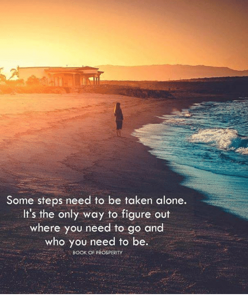 Being Alone, Memes, and Taken: Some steps need to be taken alone.  It's the only way to figure out  where you need to go and  who you need to be.  CBOOK OF PROSPERITY