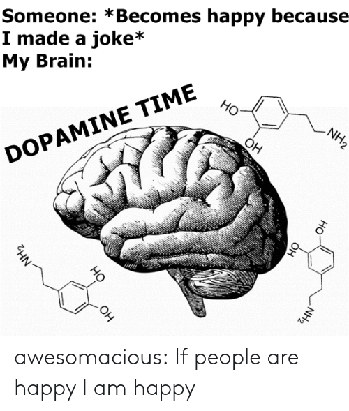 joke: Someone: *Becomes happy because  I made a joke*  My Brain:  Но  NH2  Он  DOPAMINE TIME  OH  NH2  Он  HO  Он  но  NH2 awesomacious:  If people are happy I am happy