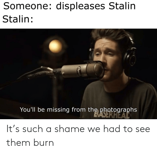 To See: Someone: displeases Stalin  Stalin:  You'll be missing from the photographs  BASERHEAL It's such a shame we had to see them burn