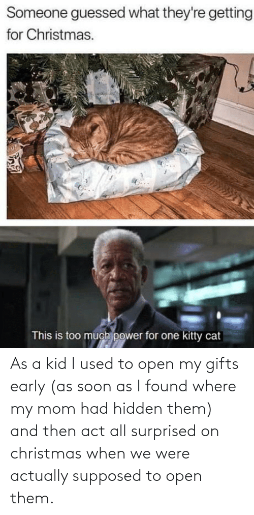 I Used To: Someone guessed what they're getting  for Christmas.  This is too much power for one kitty cat As a kid I used to open my gifts early (as soon as I found where my mom had hidden them) and then act all surprised on christmas when we were actually supposed to open them.