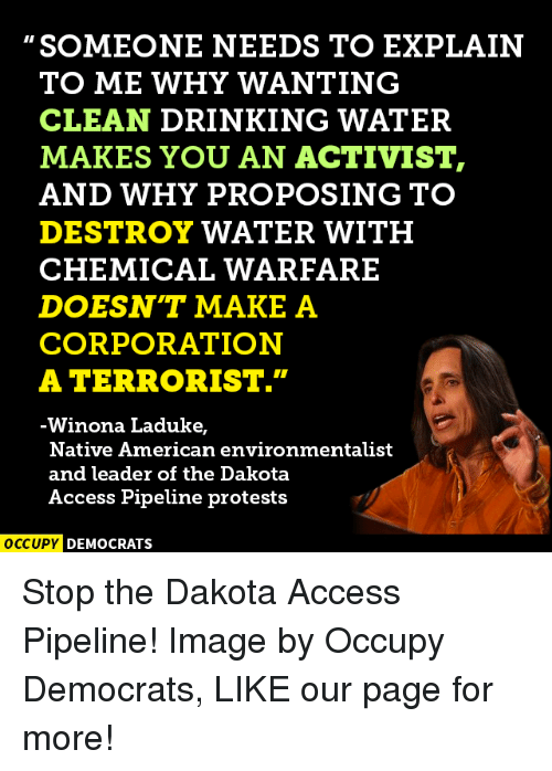 """Dakota Access Pipeline Protests : SOMEONE NEEDS TO EXPLAIN  TO ME WHY WANTING  CLEAN DRINKING WATER  MAKES YOU AN ACTIVIST,  AND WHY PROPOSING TO  DESTROY WATER WITH  CHEMICAL WARFARE  DOESNT MAKE A  CORPORATION  A TERRORIST.""""  Winona Laduke,  Native American environmentalist  and leader of the Dakota  Access Pipeline protests  OCCUPY DEMOCRATS Stop the Dakota Access Pipeline!  Image by Occupy Democrats, LIKE our page for more!"""