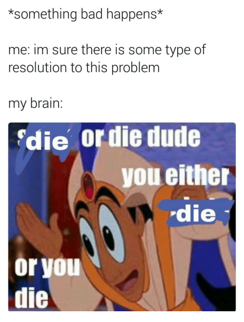 Bad, Dude, and Brain: *something bad happens*  me: im sure there is some type of  resolution to this problem  my brain.  die or die dude  you either  die  or you  die