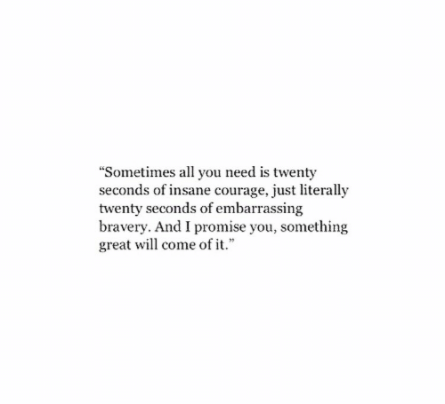 "Courage, Will, and All: ""Sometimes all you need is twenty  seconds of insane courage, just literally  twenty seconds of embarrassing  bravery. And I promise you, something  great will come of it."""
