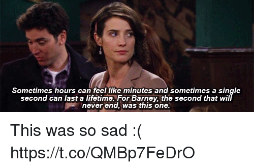 Barney, Memes, and Lifetime: Sometimes hours can feel like minutes and sometimes a single  second can last a lifetime. For Barney, the second that will  never end, was this one. This was so sad :( https://t.co/QMBp7FeDrO