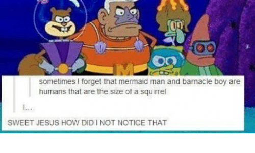 Sweet Jesus: sometimes I forget that mermaid man and barnacle boy are  humans that are the size of a squirrel  SWEET JESUS HOW DID I NOT NOTICE THAT