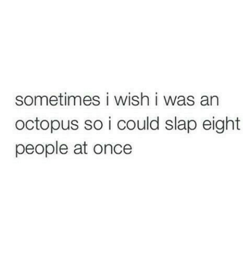 Octopus: sometimes i wish i was an  octopus so i could slap eight  people at once