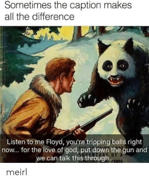 God, Love, and MeIRL: Sometimes the caption makes  all the difference  Listen to me Floyd, you're tripping balls right  now... for the love of god, put down the gun and  we can talk this throughANA  TURE OF A meirl