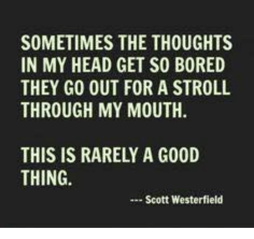 Bored, Dank, and Head: SOMETIMES THE THOUGHTS  IN MY HEAD GET SO BORED  THEY GO OUT FOR A STROLL  THROUGH MY MOUTH.  THIS IS RARELY A G00D  THING.  Scott Westerfield