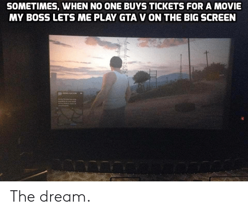GTA V: SOMETIMES, WHEN NO ONE BUYS TICKETS FOR A MOVIE  MY BOSS LETS ME PLAY GTA V ON THE BIG SCREEN The dream.
