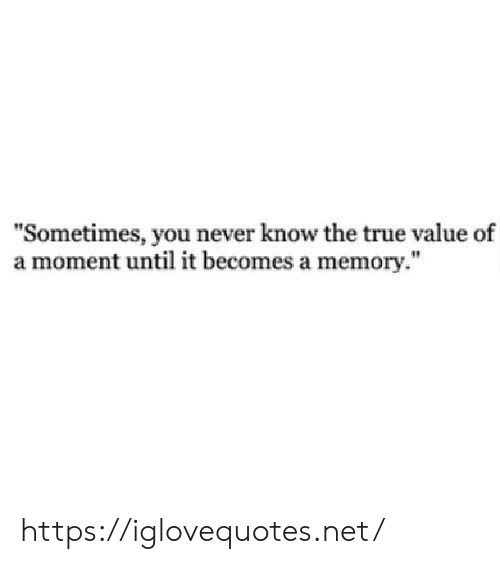"""you never know: """"Sometimes, you never know the true value of  a moment until it becomes a memory."""" https://iglovequotes.net/"""