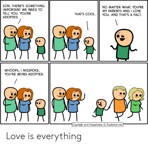 Cyanide and Happiness: SON, THERE'S SOMETHING  IMPORTANT WE NEED TO  TELL YOU. YOU'RE  ADOPTED.  NO MATTER WHAT, YOU'RE  MY PARENTS AND I LOVE  YOu. AND THAT'S A FACT  THAT'S COOL.  WHOOPS, I MISSPOKE  YOU'RE BEING ADOPTED  Cyanide and Happiness  Explosm.net Love is everything