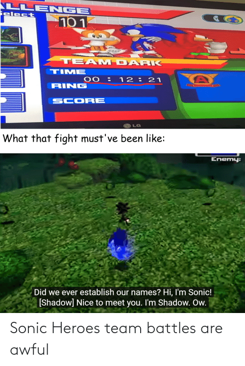 Sonic: Sonic Heroes team battles are awful