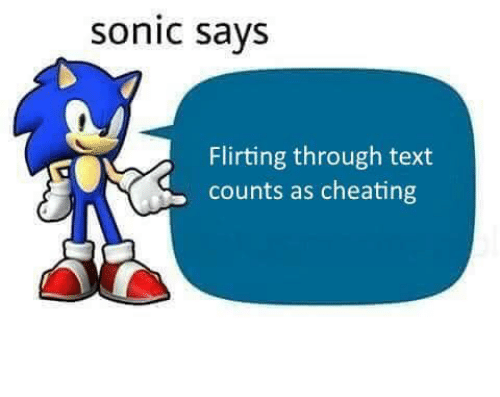 sonic says: sonic says  Flirting through text  counts as cheating
