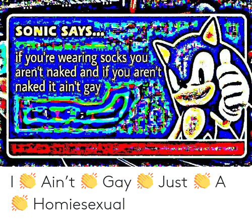 sonic says: SONIC SAYS  if youre wearing socks you  aren't naked and if vou aren't  naked it ain't gav I 👏 Ain't 👏 Gay 👏 Just 👏 A 👏 Homiesexual