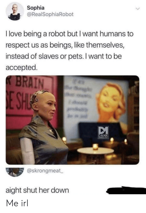 Dank, Love, and Respect: Sophia  @RealSophiaRobot  I love being a robot but I want humans  respect us as beings, like themselves,  instead of slaves or pets. I want to be  accepted  K BRAIN  h  E SH  a.  DANK  MINESS  @skrongmeat  aight shut her down Me irl