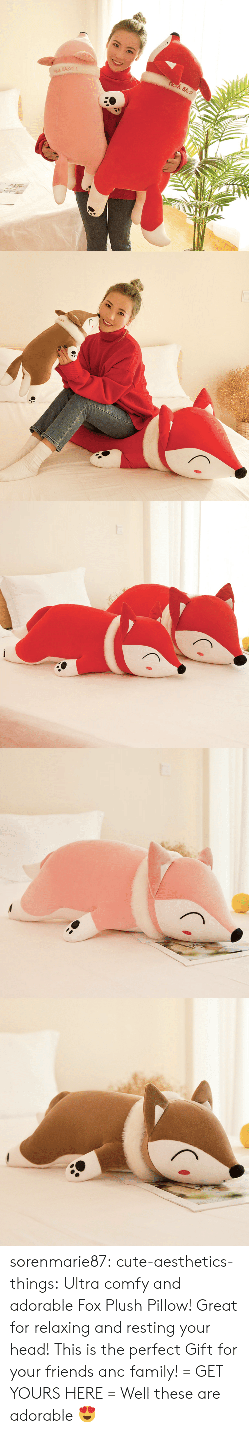plush: sorenmarie87:  cute-aesthetics-things:  Ultra comfy and adorable Fox Plush Pillow! Great for relaxing and resting your head! This is the perfect Gift for your friends and family! = GET YOURS HERE =   Well these are adorable 😍
