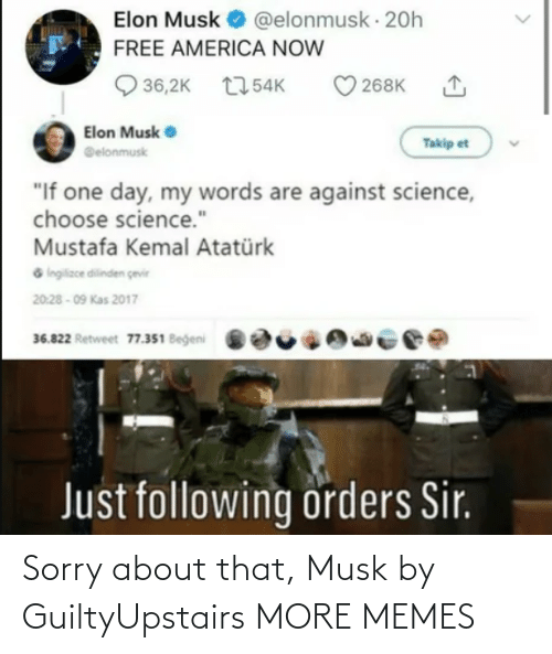 Dank, Memes, and Sorry: Sorry about that, Musk by GuiltyUpstairs MORE MEMES