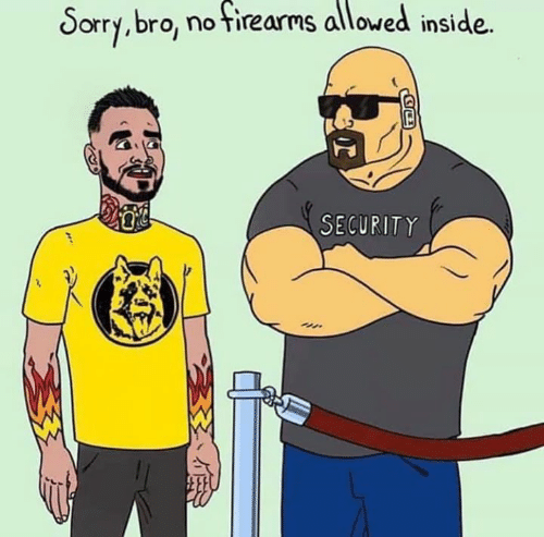 Memes, Sorry, and 🤖: Sorry,bro, no Tirearms alloved inside.  SECURITY