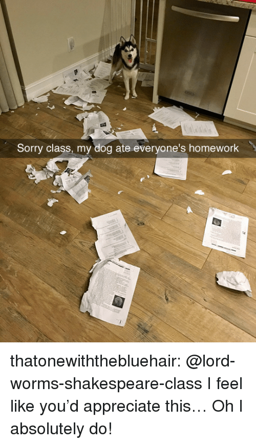 Shakespeare, Sorry, and Tumblr: Sorry class, my dog ate everyone's homework thatonewiththebluehair:  @lord-worms-shakespeare-class I feel like you'd appreciate this…  Oh I absolutely do!