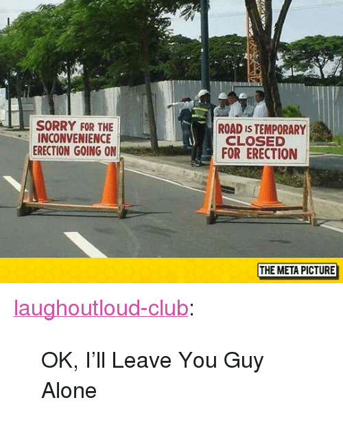 "sorry for the inconvenience: SORRY FOR THE  INCONVENIENCE  ERECTION GOING ON  ROAD IS TEMPORARY  CLOSED  FOR ERECTION  THE META PICTURE <p><a href=""http://laughoutloud-club.tumblr.com/post/154892600065/ok-ill-leave-you-guy-alone"" class=""tumblr_blog"">laughoutloud-club</a>:</p>  <blockquote><p>OK, I'll Leave You Guy Alone</p></blockquote>"