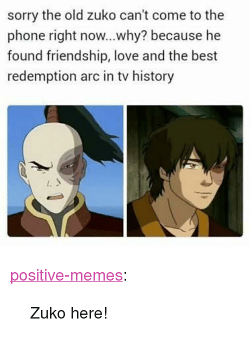 """zuko: sorry the old zuko can't come to the  phone right now...why? because he  found friendship, love and the best  redemption arc in tv history <p><a href=""""https://positive-memes.tumblr.com/post/166744068700/zuko-here"""" class=""""tumblr_blog"""">positive-memes</a>:</p> <blockquote><p>Zuko here!</p></blockquote>"""