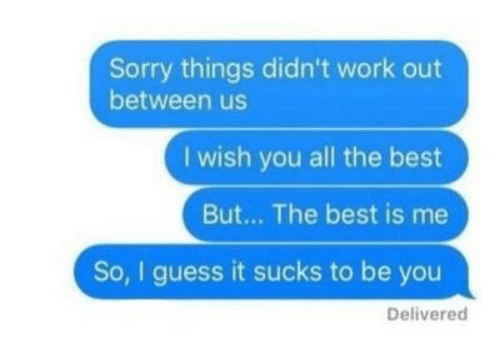 guess.it: Sorry things didn't work out  between us  I wish you all the best  But... The best is me  So, I guess it sucks to be you  Delivered