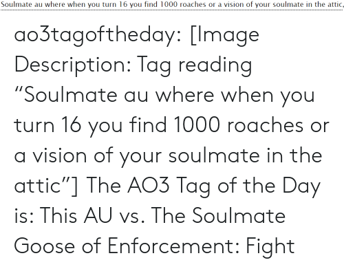 """google.com: Soulmate au where when you turn 16 you find 1000 roaches or a vision of your soulmate in the attic, ao3tagoftheday:  [Image Description: Tag reading """"Soulmate au where when you turn 16 you find 1000 roaches or a vision of your soulmate in the attic""""]  The AO3 Tag of the Day is: This AU vs. The Soulmate Goose of Enforcement: Fight"""