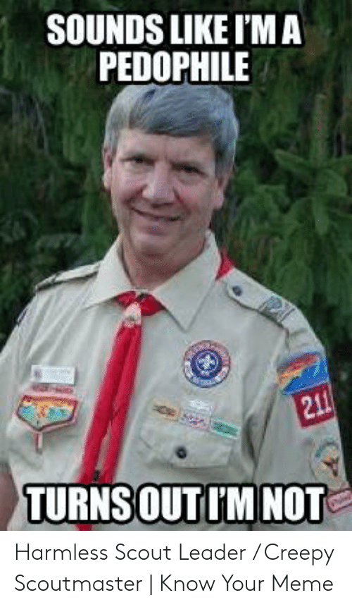 Funny Leadership Meme: SOUNDS LIKE I'M A  PEDOPHILE  TURNSOUTI'M NOT Harmless Scout Leader / Creepy Scoutmaster   Know Your Meme