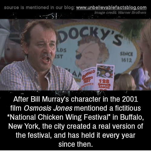 "imags: source Is mentioned In our blog  www.unbelievablefactsblog.com  Image credit: Warner Brothers  SINCE  1612  After Bill Murray's character in the 2001  film Osmosis Jones mentioned a fictitious  ""National Chicken Wing Festival"" in Buffalo,  New York, the city created a real version of  the festival, and has held it every year  since then."