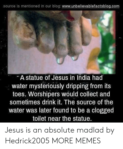 Dank, Jesus, and Memes: source is mentioned in our blog: www.unbellevablefactsblog.co  A statue of Jesus in India had  water mysteriously dripping from its  toes. Worshipers would collect and  sometimes drink it. The source of the  water was later found to be a clogged  toilet near the statue Jesus is an absolute madlad by Hedrick2005 MORE MEMES