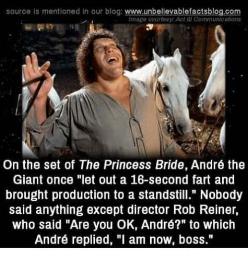 "The Princess Bride: source is mentioned In our blog: www.unbellevablefactsblog.com  Image courtesy: Act แเ Communications  On the set of The Princess Bride, André the  Giant once ""let out a 16-second fart and  brought production to a standstill."" Nobody  said anything except director Rob Reiner,  who said ""Are you OK, André?"" to which  André replied, ""l am now, boss."""