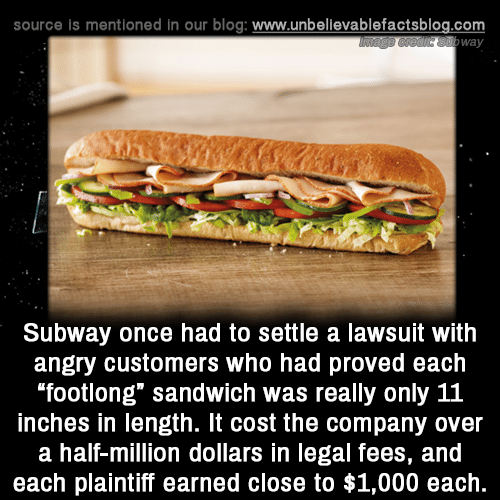 """Memes, Subway, and Blog: source is mentioned in our blog: www.unbellevablefactsblog.com  way  Subway once had to settle a lawsuit with  angry customers who had proved each  footlong"""" sandwich was really only 11  inches in length. It cost the company over  a half-million dollars in legal fees, and  each plaintiff earned close to $1,000 each."""
