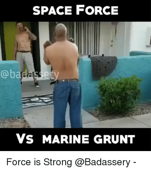 Memes, Space, and Strong: SPACE FORCE  @badasery  Vs MARINE GRUNT Force is Strong @Badassery -