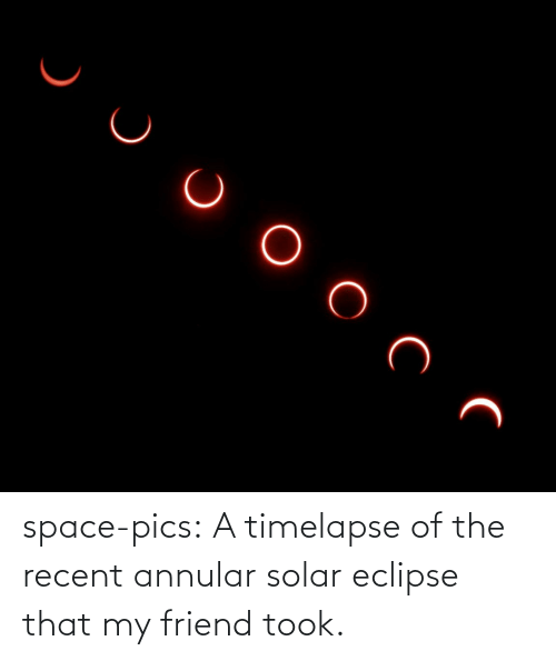 Took: space-pics:  A timelapse of the recent annular solar eclipse that my friend took.