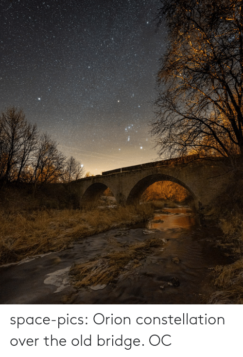 Tumblr, Blog, and Space: space-pics:  Orion constellation over the old bridge. OC