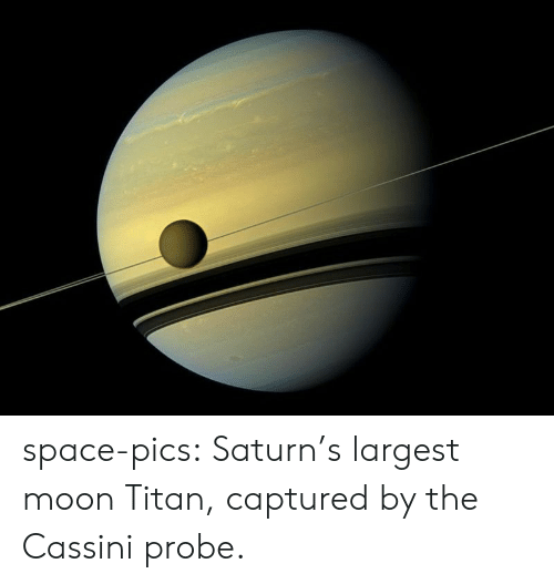 Tumblr, Blog, and Moon: space-pics:  Saturn's largest moon Titan, captured by the Cassini probe.