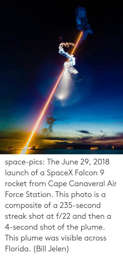 Air Force: space-pics:  The June 29, 2018 launch of a SpaceX Falcon 9 rocket from Cape Canaveral Air Force Station. This photo is a composite of a 235-second streak shot at f/22 and then a 4-second shot of the plume. This plume was visible across Florida. (Bill Jelen)