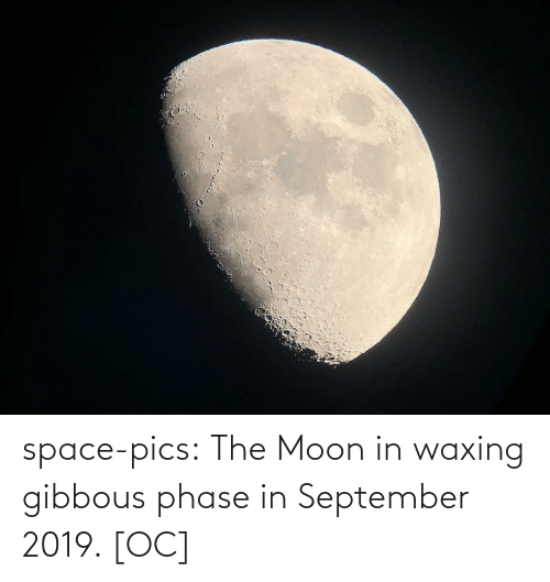 the moon: space-pics:  The Moon in waxing gibbous phase in September 2019. [OC]