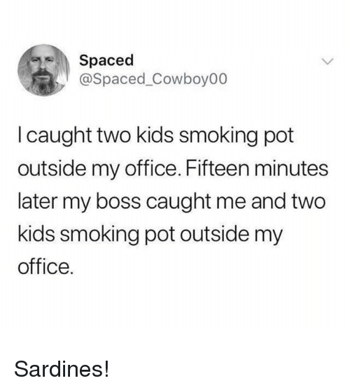 Smoking, Kids, and Office: Spaced  @Spaced_Cowboy00  I caught two kids smoking pot  outside my office. Fifteen minutes  later my boss caught me and two  kids smoking pot outside my  office. Sardines!