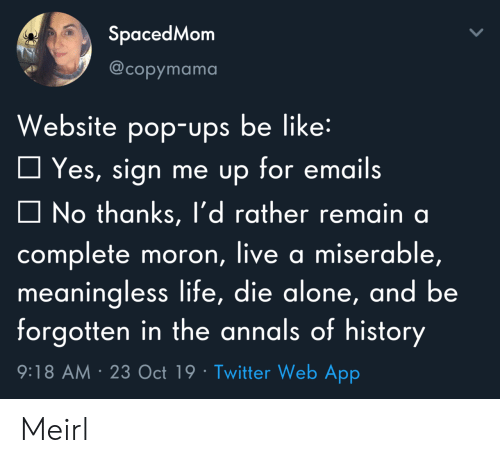 Sign Me Up: SpacedMom  @copymama  Website pop-ups be like:  Yes, sign me up for emails  No thanks, l'd rather remain a  complete moron, live a miserable,  meaningless life, die alone, and be  forgotten in the annals of history  9:18 AM 23 Oct 19 Twitter Web App Meirl