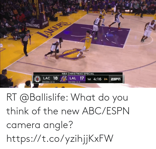 spalding: SPALDING  AUPYILAY  NBA CHRISTMAS SPECIAL  LAC 18  LAL 17  1st 4:16 24  ES  RECORD: 22-10  RECORD: 24-6 RT @Ballislife: What do you think of the new ABC/ESPN camera angle?    https://t.co/yzihjjKxFW