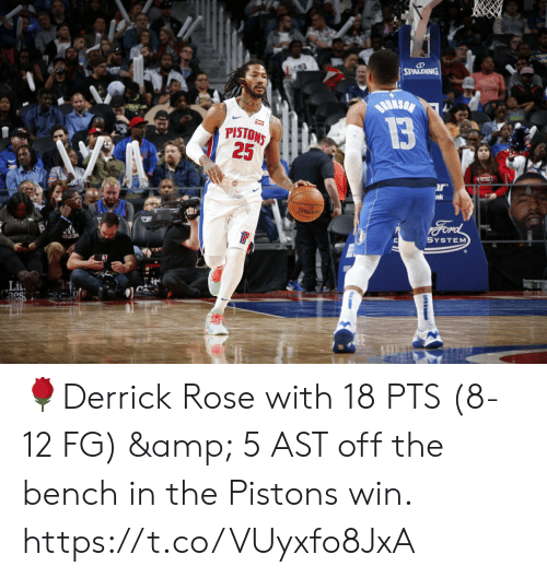 spalding: SPALDING  BuksaN  13  PISTONS  25  r  nk  SPALDING  Ford  SYSTEM  adas 🌹Derrick Rose with 18 PTS (8-12 FG) & 5 AST off the bench in the Pistons win.   https://t.co/VUyxfo8JxA