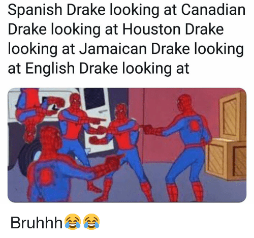 Drake, Funny, and Spanish: Spanish Drake looking at Canadian  Drake looking at Houston Drake  looking at Jamaican Drake looking  at English Drake looking at Bruhhh😂😂