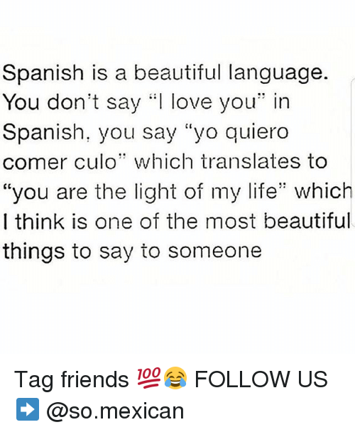 """Beautiful, Friends, and Life: Spanish is a beautiful language.  You don't say .:I love you"""" in  Spanish, you say """"yo quiero  comer culo"""" which translates to  """"you are the light of my life"""" which  I think is one of the most beautiful  things to say to someone Tag friends 💯😂 FOLLOW US➡️ @so.mexican"""