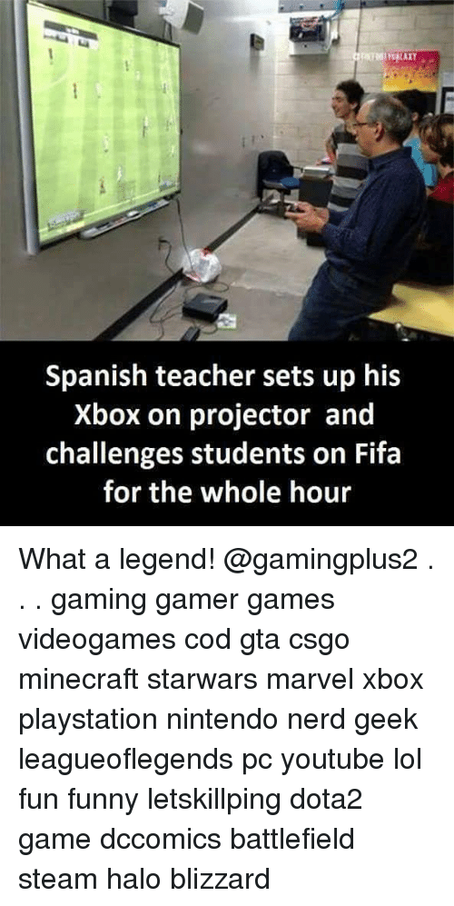 Gamerant: Spanish teacher sets up his  Xbox on projector and  challenges students on Fifa  for the whole hour What a legend! @gamingplus2 . . . gaming gamer games videogames cod gta csgo minecraft starwars marvel xbox playstation nintendo nerd geek leagueoflegends pc youtube lol fun funny letskillping dota2 game dccomics battlefield steam halo blizzard