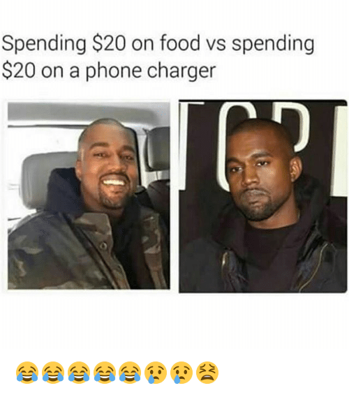 Phone Charger: Spending $20 on food vs spending  $20 on a phone charger 😂😂😂😂😂😢😢😫