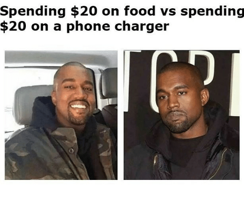 Phone Charger: Spending $20 on food vs spending  $20 on a phone charger
