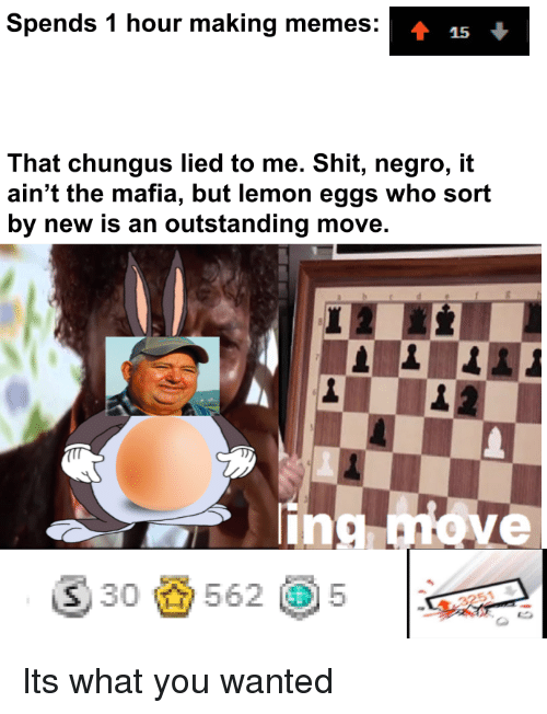 Chungus: Spends 1 hour making memes:  That chungus lied to me. Shit, negro, it  ain't the mafia, but lemon eggs who sort  by new is an outstanding move.  lin  ⑤30齒562 @5  |  3251 Its what you wanted